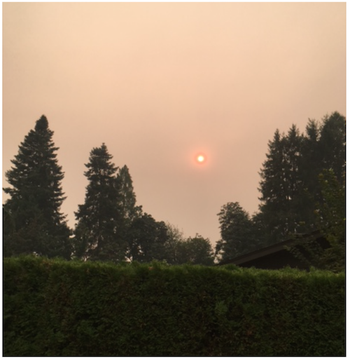 Sunset through haze